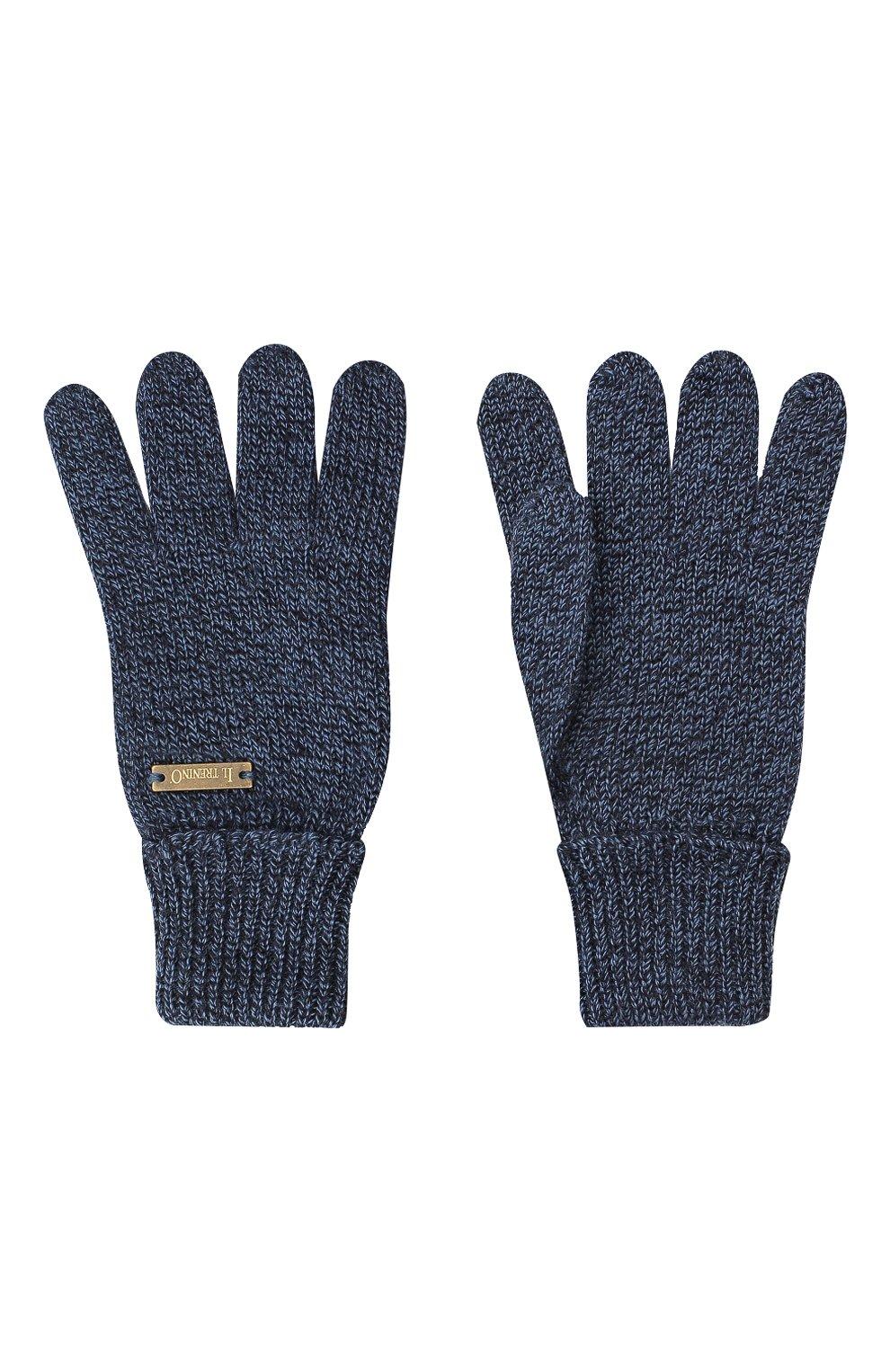 Детские шерстяные перчатки IL TRENINO синего цвета, арт. 20 4055/E0 | Фото 2