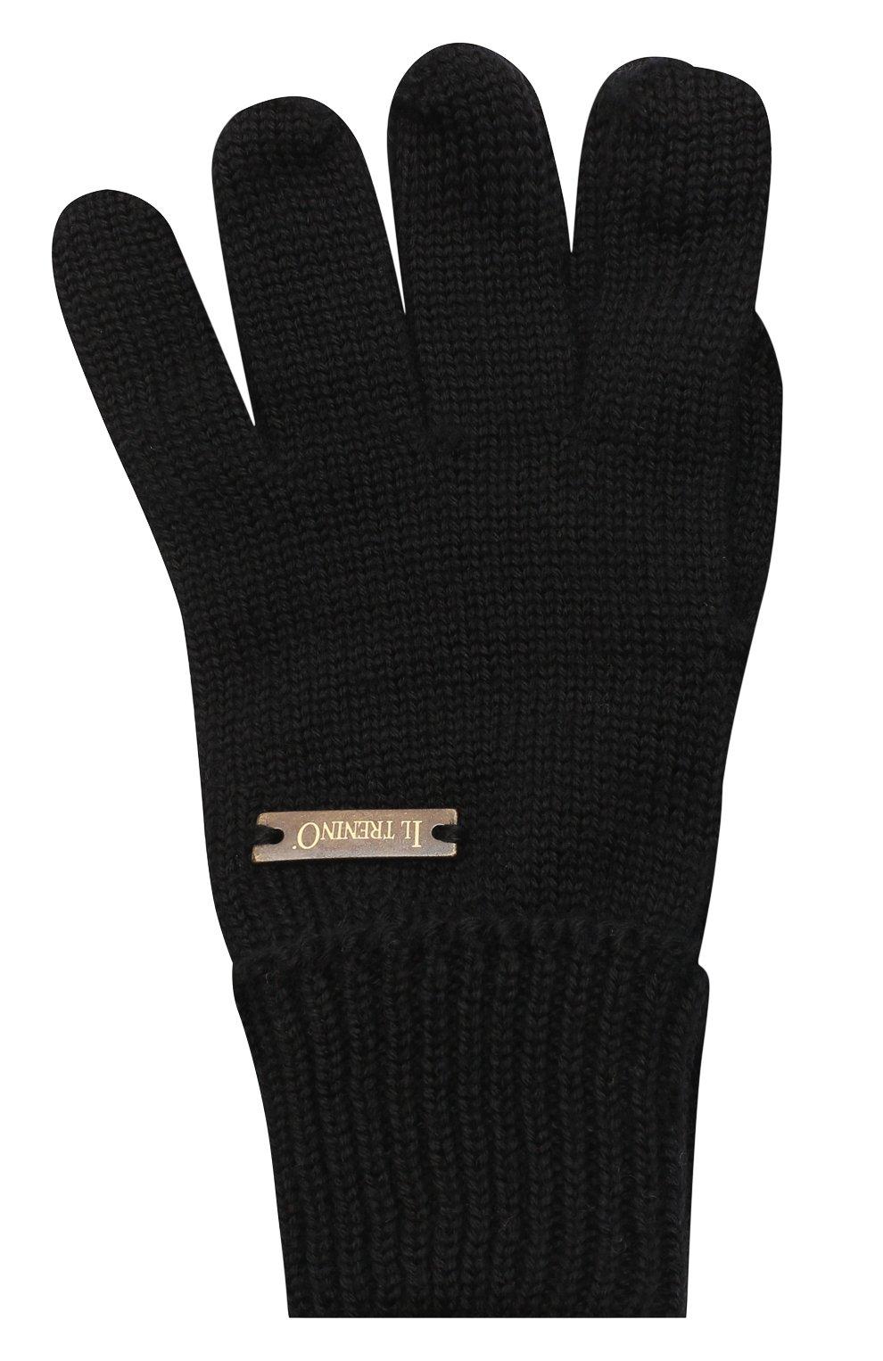 Детские шерстяные перчатки IL TRENINO черного цвета, арт. 20 4055/E0 | Фото 1