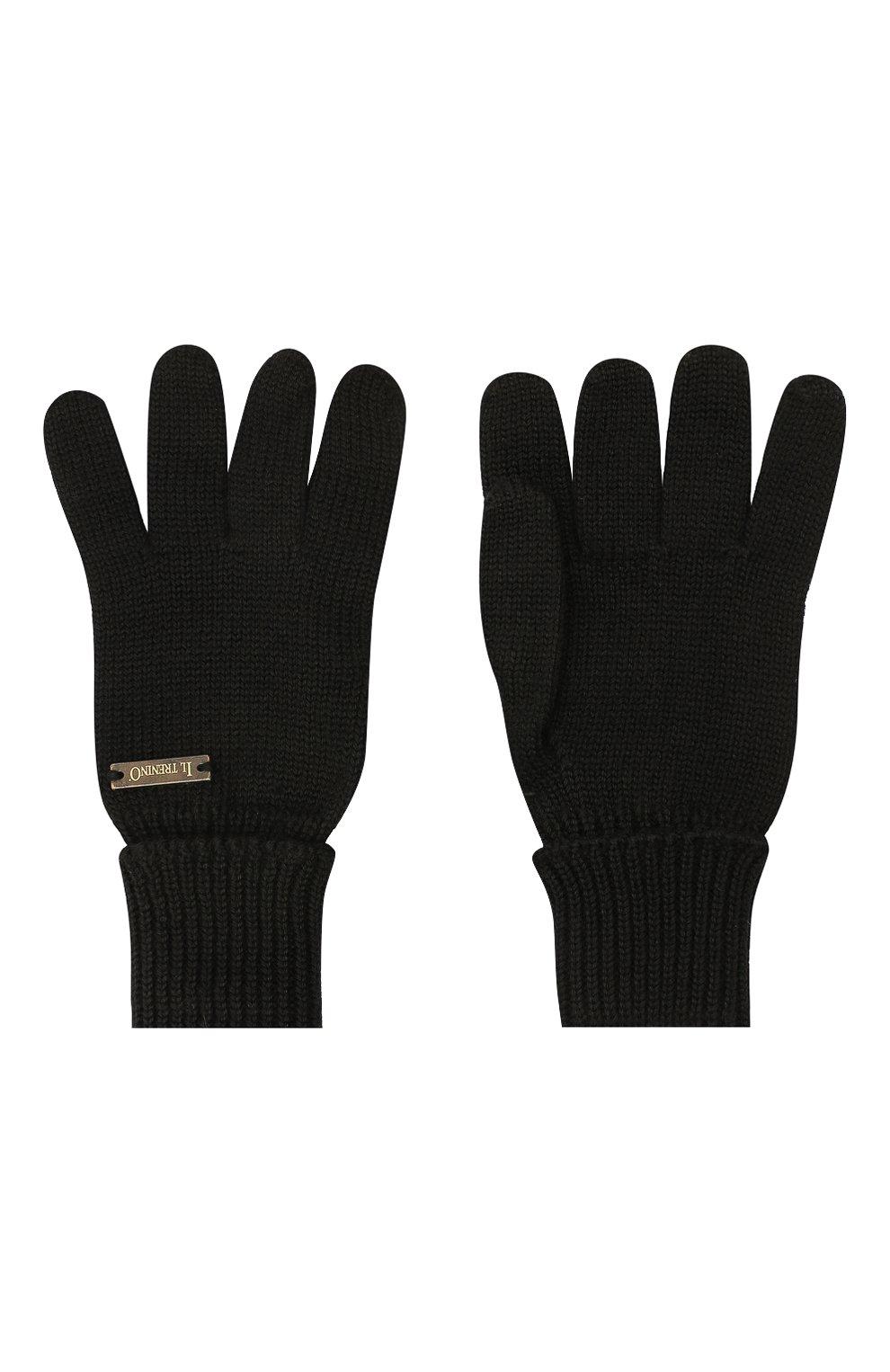 Детские шерстяные перчатки IL TRENINO черного цвета, арт. 20 4055/E0 | Фото 2