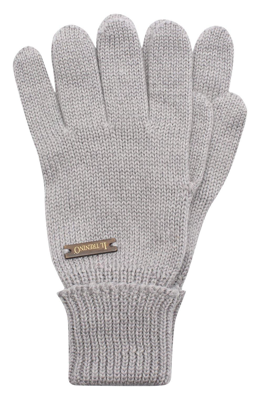 Детские шерстяные перчатки IL TRENINO серого цвета, арт. 20 4055/E0   Фото 1