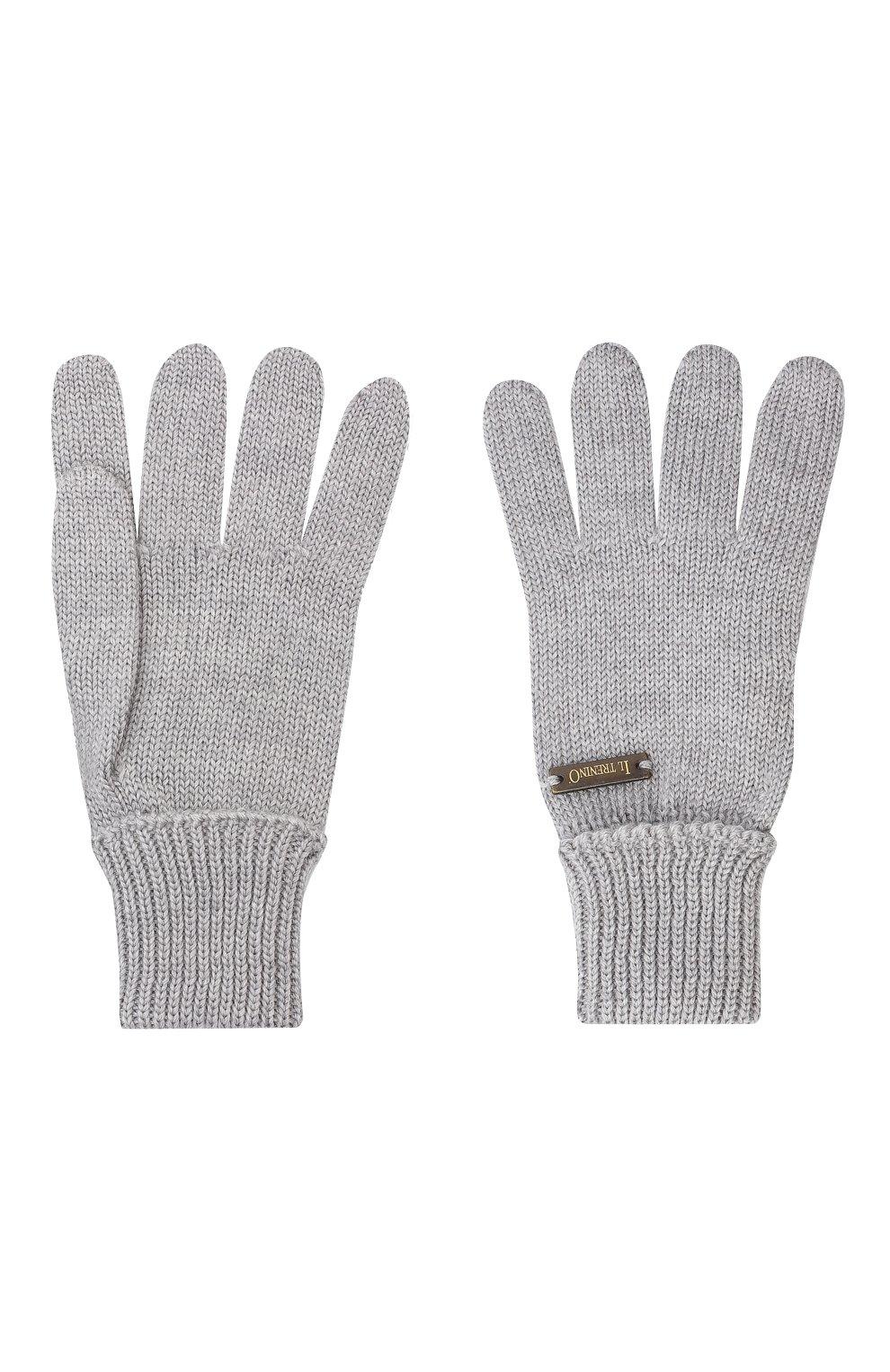 Детские шерстяные перчатки IL TRENINO серого цвета, арт. 20 4055/E0   Фото 2