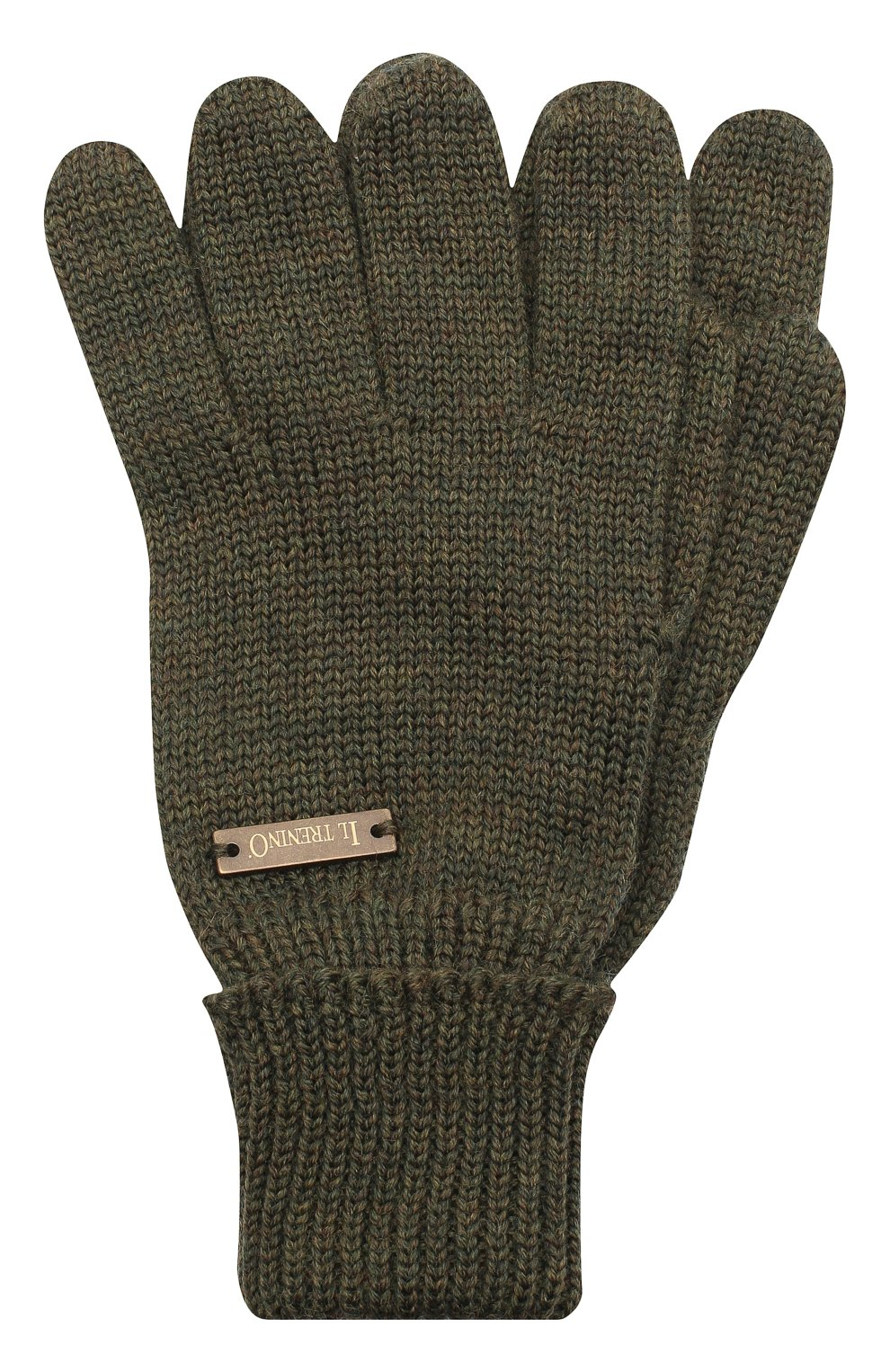 Детские шерстяные перчатки IL TRENINO хаки цвета, арт. 20 4055/E0   Фото 1