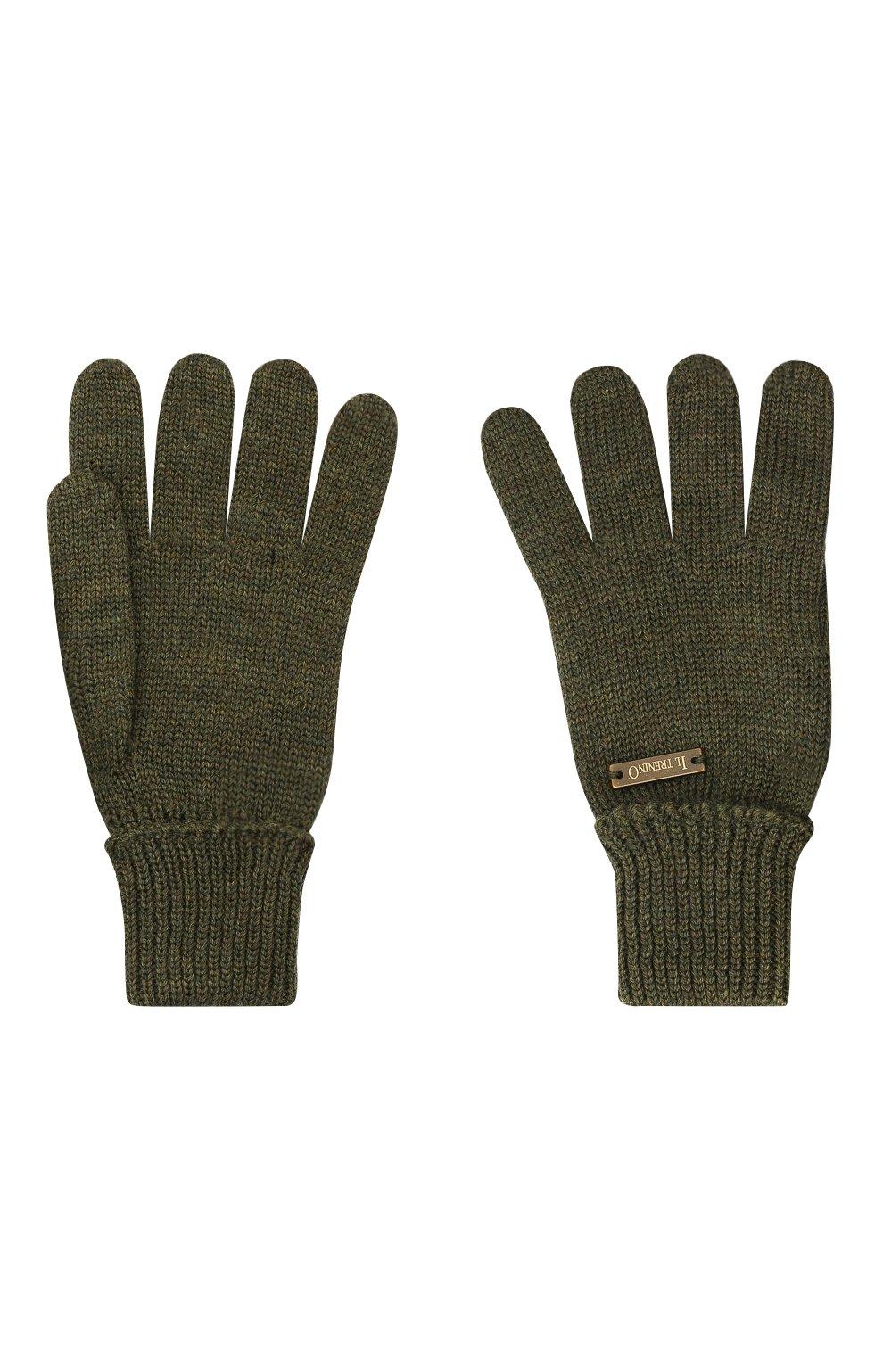 Детские шерстяные перчатки IL TRENINO хаки цвета, арт. 20 4055/E0   Фото 2