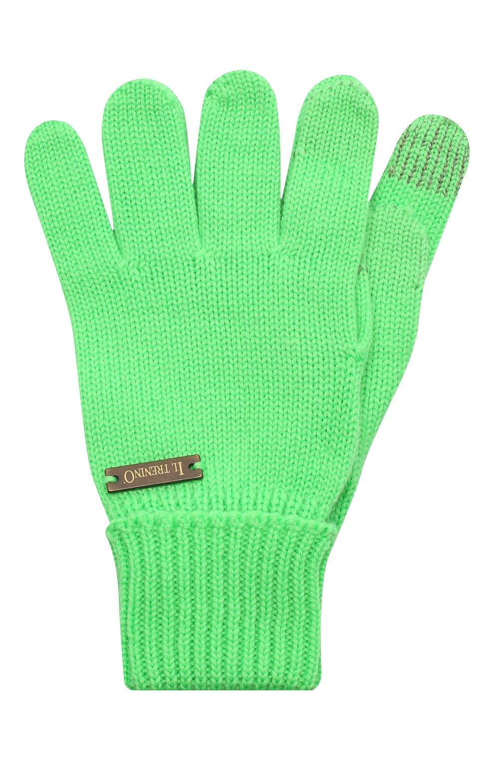 Детские шерстяные перчатки IL TRENINO салатового цвета, арт. 20 4056/E0 | Фото 1