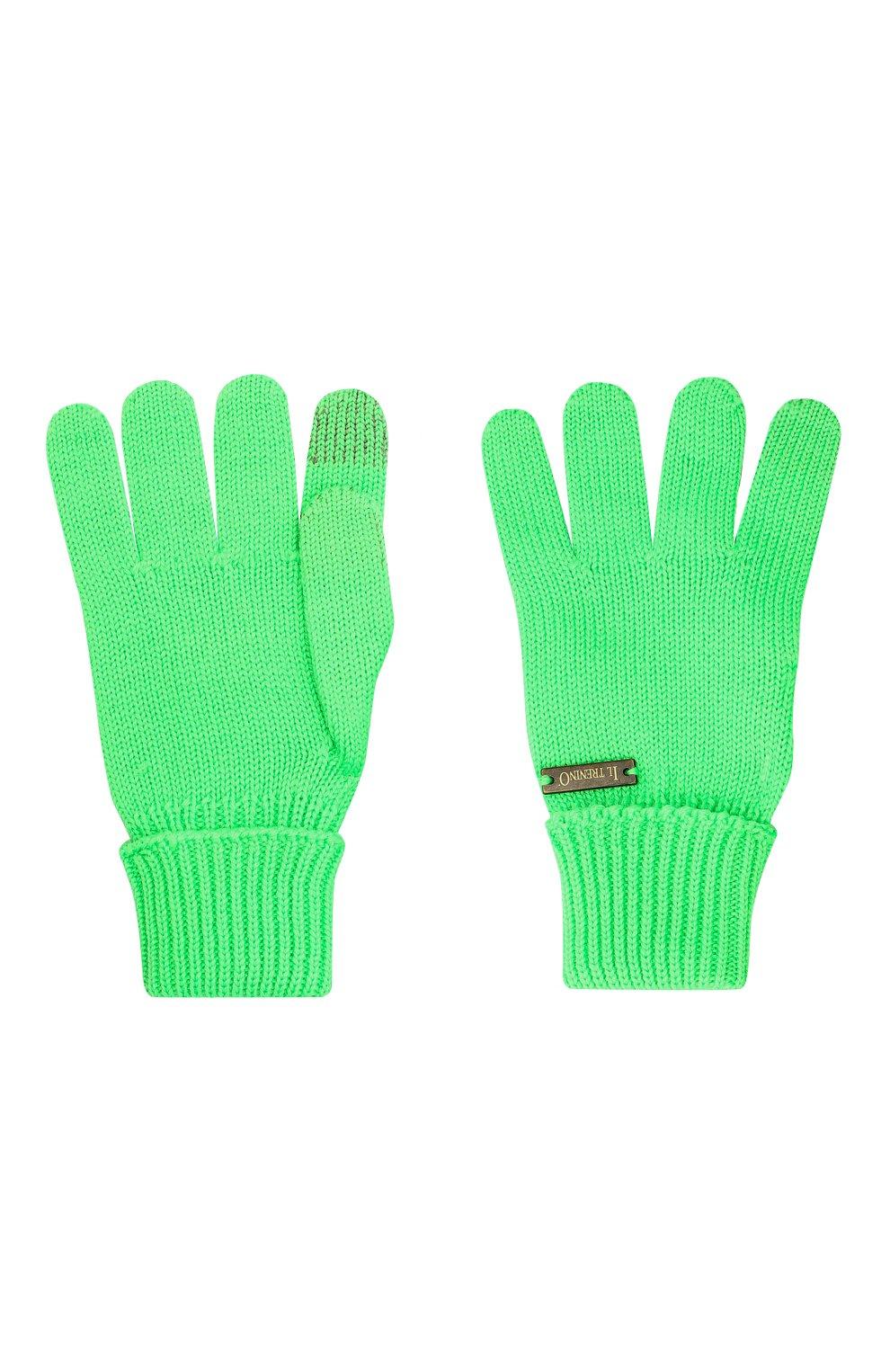 Детские шерстяные перчатки IL TRENINO салатового цвета, арт. 20 4056/E0 | Фото 2