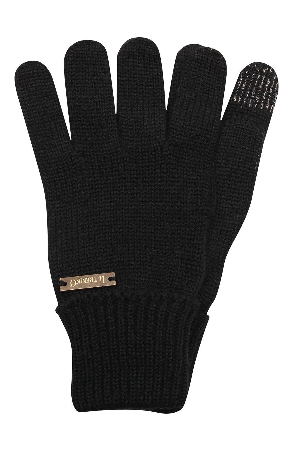 Детские шерстяные перчатки IL TRENINO черного цвета, арт. 20 4056/E0   Фото 1