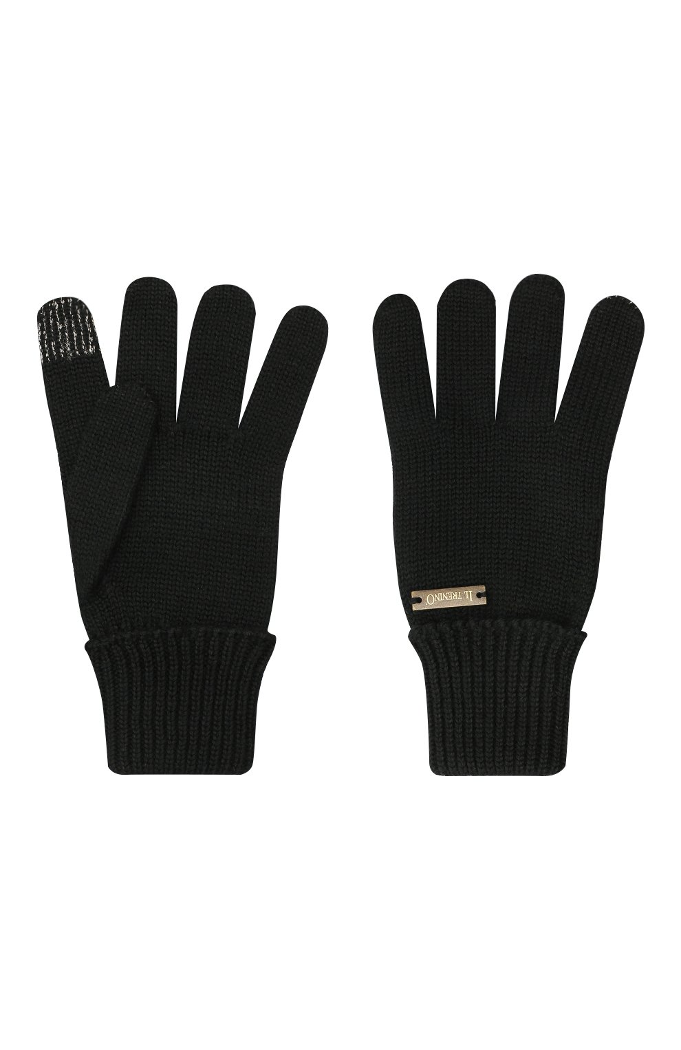 Детские шерстяные перчатки IL TRENINO черного цвета, арт. 20 4056/E0   Фото 2