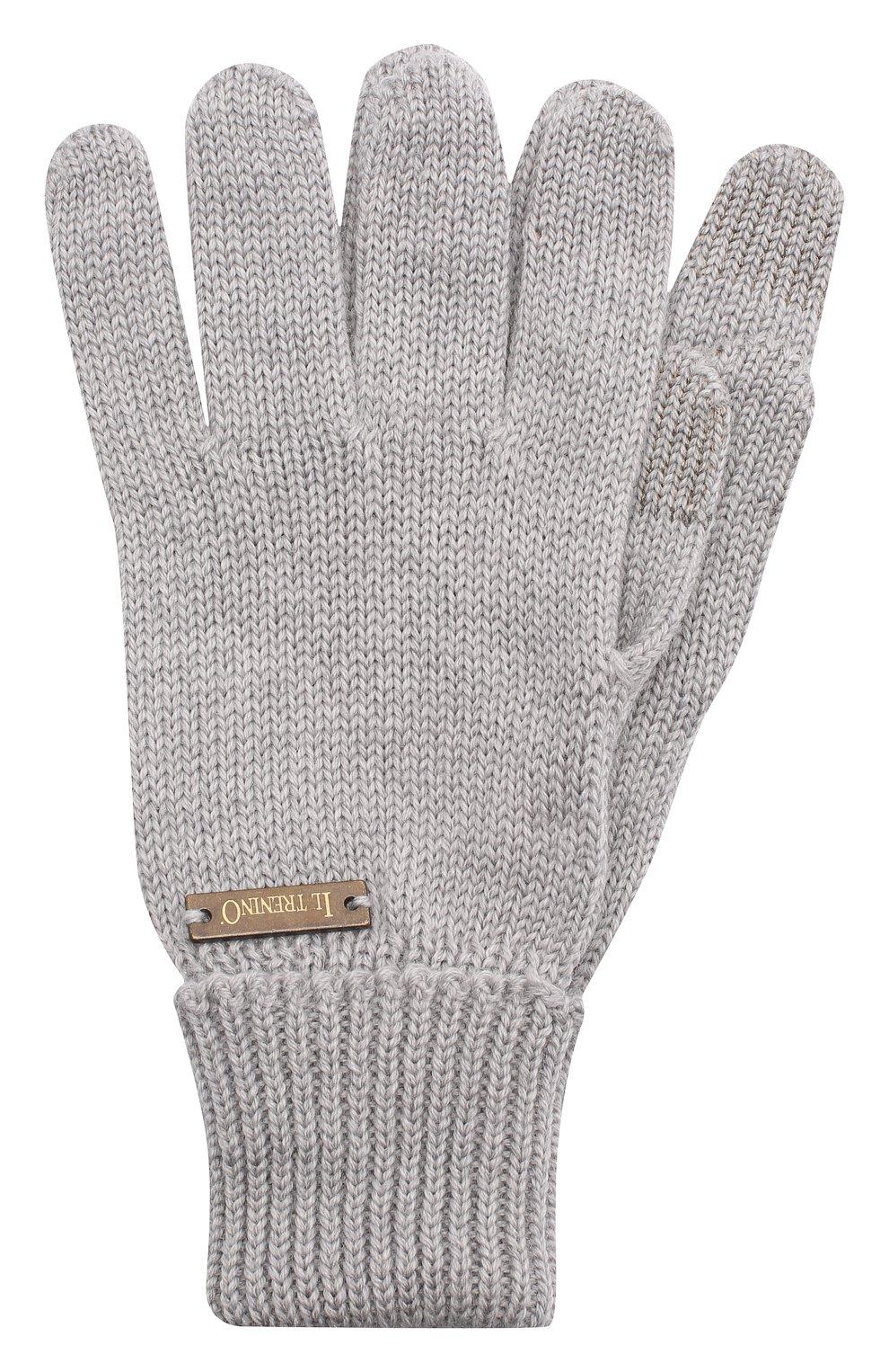 Детские шерстяные перчатки IL TRENINO серого цвета, арт. 20 4056/E0   Фото 1
