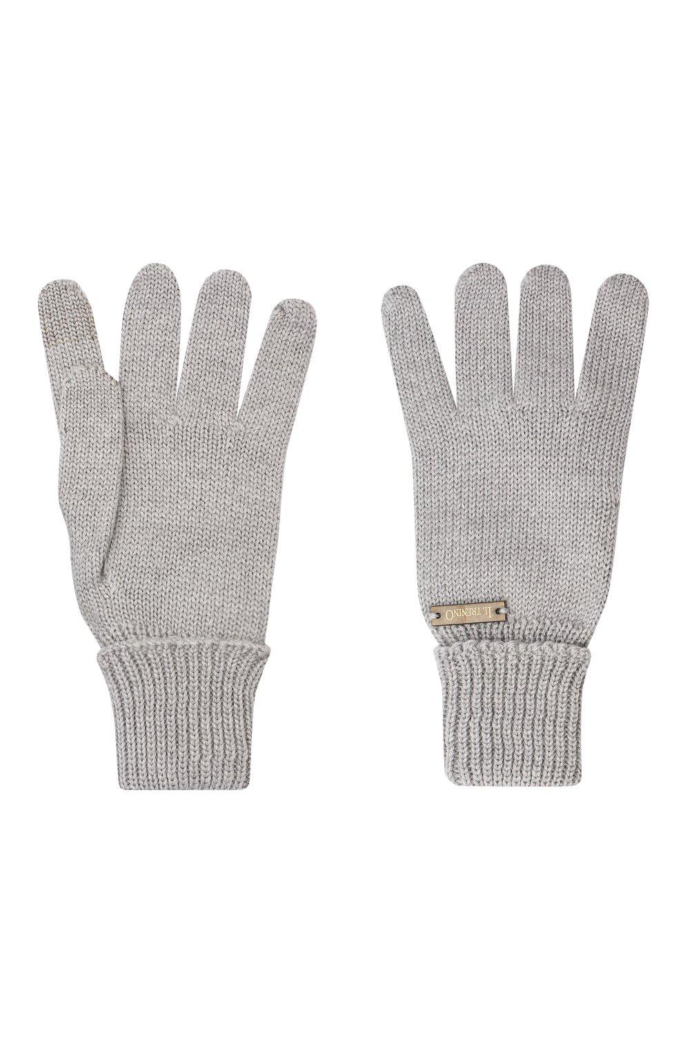 Детские шерстяные перчатки IL TRENINO серого цвета, арт. 20 4056/E0   Фото 2