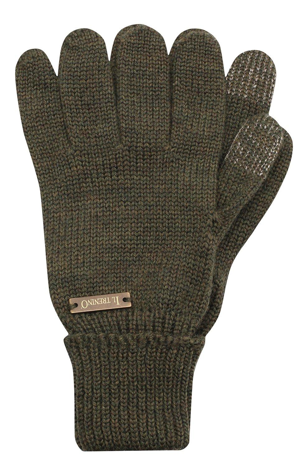 Детские шерстяные перчатки IL TRENINO хаки цвета, арт. 20 4056/E0 | Фото 1