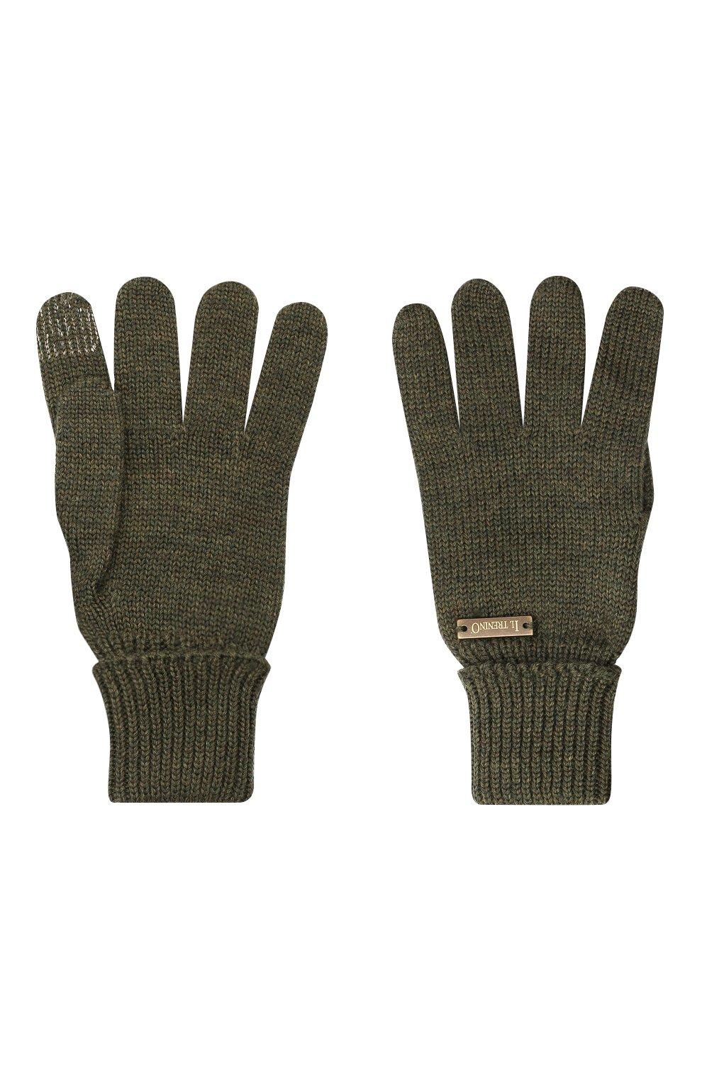 Детские шерстяные перчатки IL TRENINO хаки цвета, арт. 20 4056/E0 | Фото 2