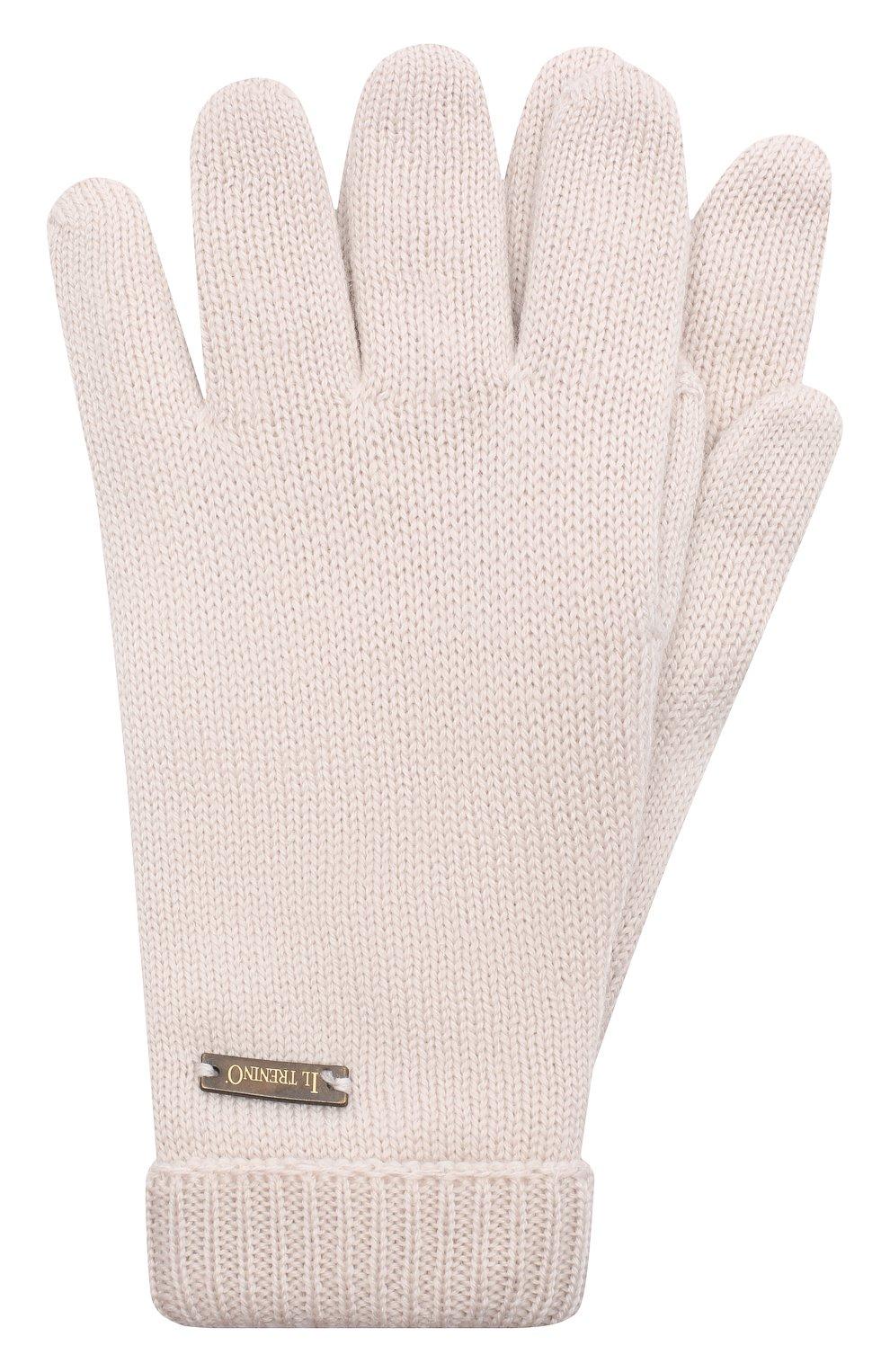 Детские шерстяные перчатки IL TRENINO бежевого цвета, арт. 20 4063/E0 | Фото 1