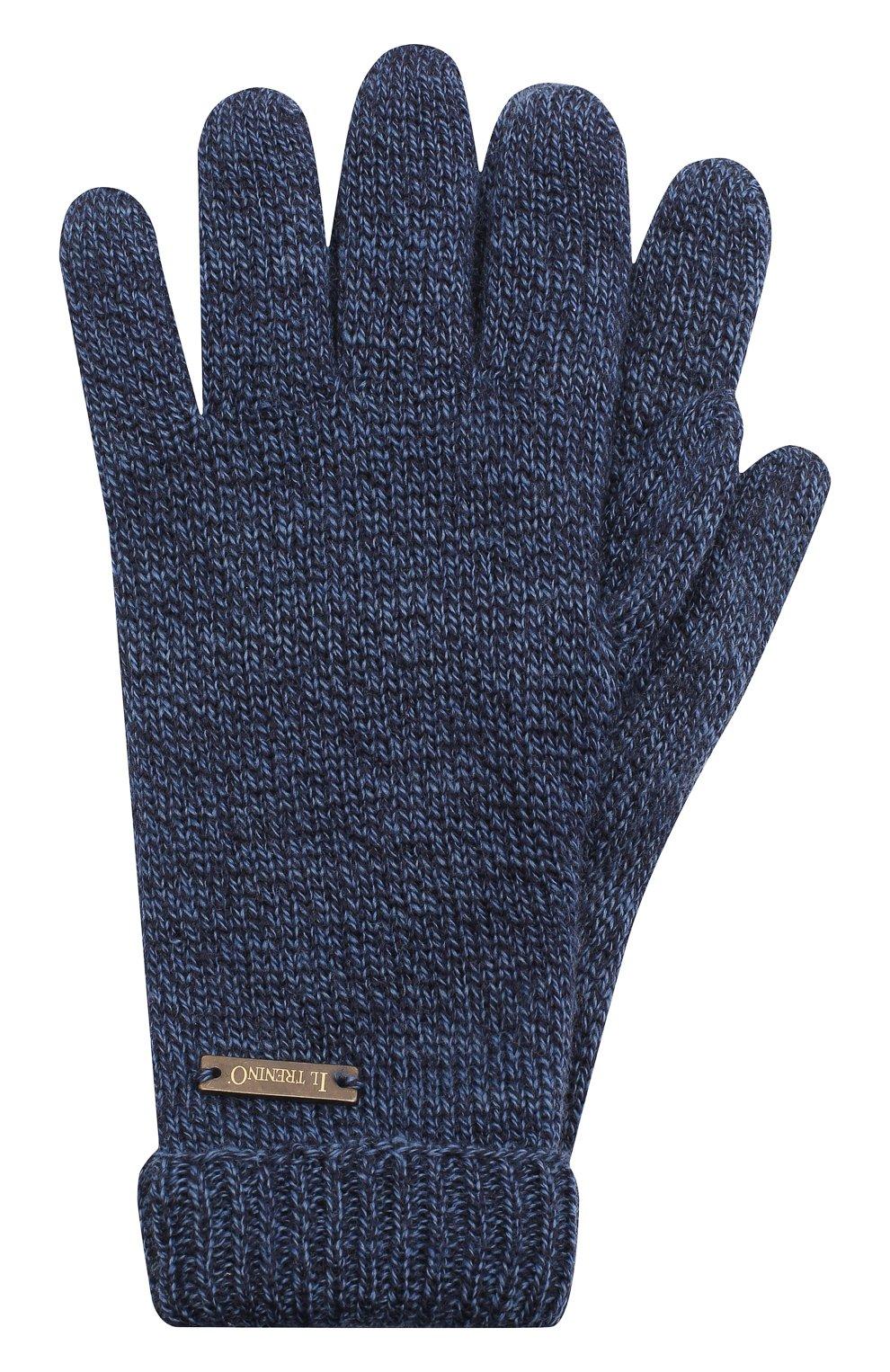 Детские шерстяные перчатки IL TRENINO синего цвета, арт. 20 4063/E0 | Фото 1