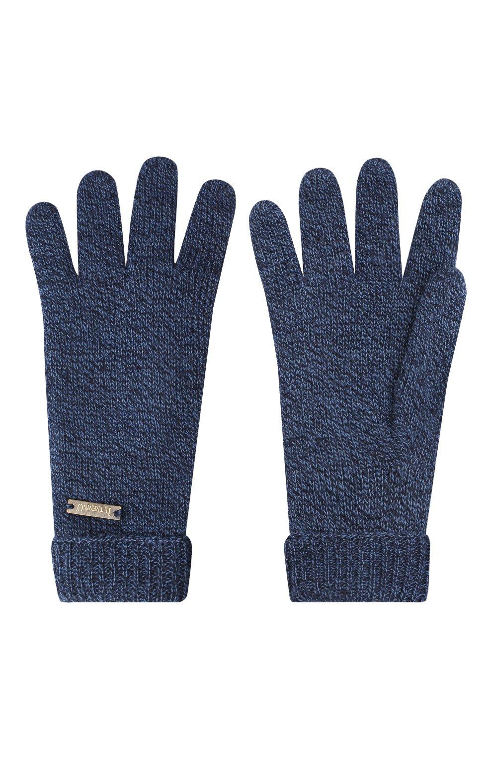Детские шерстяные перчатки IL TRENINO синего цвета, арт. 20 4063/E0 | Фото 2