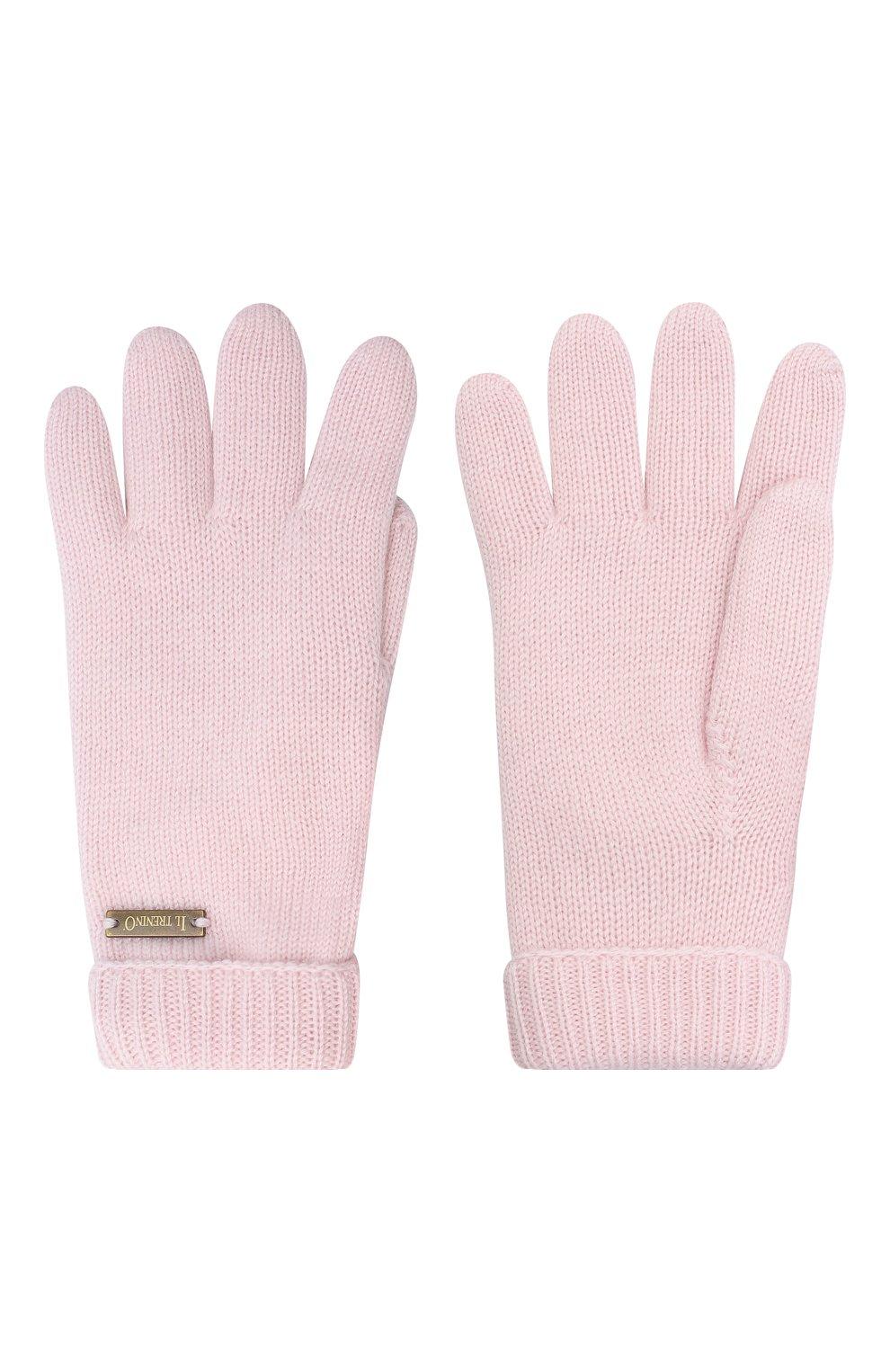 Детские шерстяные перчатки IL TRENINO розового цвета, арт. 20 4063/E0 | Фото 2