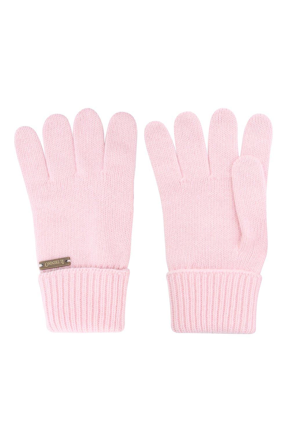 Детские шерстяные перчатки IL TRENINO розового цвета, арт. 20 8218/E0   Фото 2