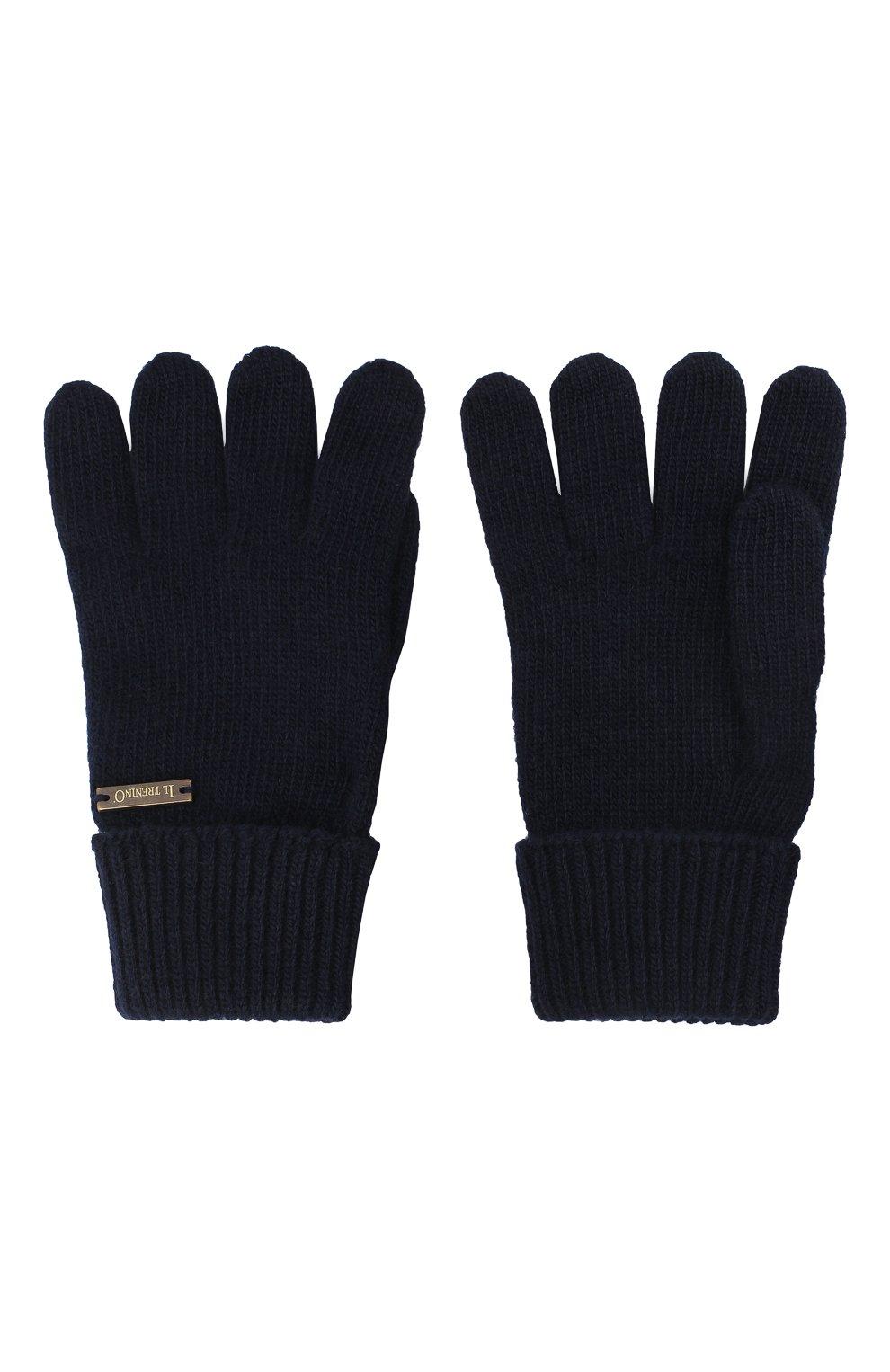 Детские шерстяные перчатки IL TRENINO темно-синего цвета, арт. 20 8218/E0 | Фото 2
