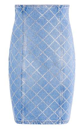 Женская джинсовая юбка BALMAIN голубого цвета, арт. UF14300/D050 | Фото 1