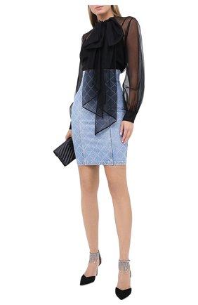 Женская джинсовая юбка BALMAIN голубого цвета, арт. UF14300/D050 | Фото 2