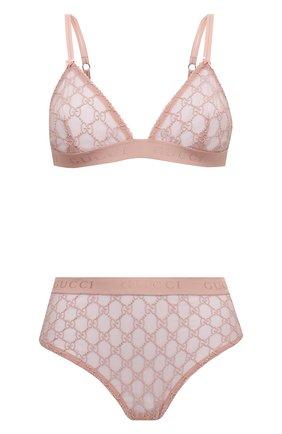 Женские комплект бюстгальтер и трусы GUCCI розового цвета, арт. 599496/XUAAW | Фото 1