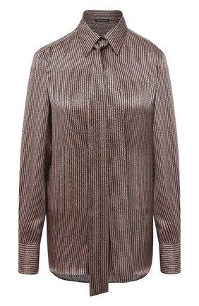 Женская шелковая блузка KITON коричневого цвета, арт. D48407K05T62 | Фото 1
