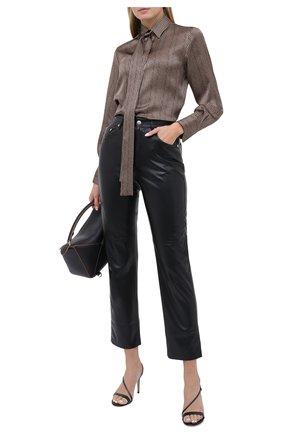 Женская шелковая блузка KITON коричневого цвета, арт. D48407K05T62 | Фото 2