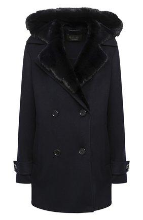 Женское кашемировое пальто с мехом норки LORO PIANA темно-синего цвета, арт. FAL2213 | Фото 1