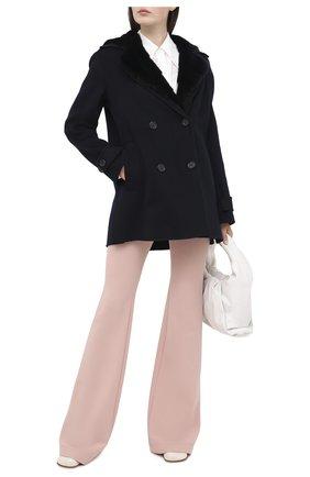 Женское кашемировое пальто с мехом норки LORO PIANA темно-синего цвета, арт. FAL2213 | Фото 2