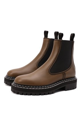 Женские кожаные ботинки PROENZA SCHOULER хаки цвета, арт. PS35115A/12141   Фото 1