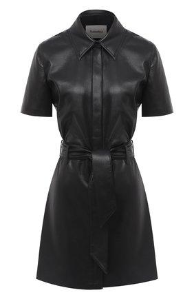 Женское платье с поясом NANUSHKA черного цвета, арт. HALLI_BLACK_VEGAN LEATHER | Фото 1