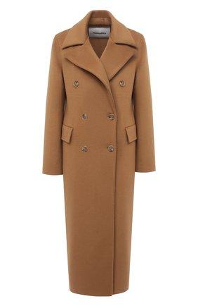 Женское шерстяное пальто NANUSHKA коричневого цвета, арт. LANA_LIGHT BR0WN_D0UBLE SILK W00L BLEND | Фото 1