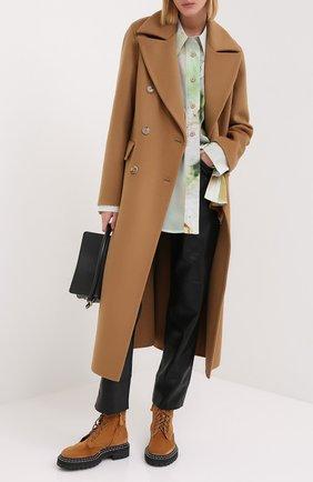 Женское шерстяное пальто NANUSHKA коричневого цвета, арт. LANA_LIGHT BR0WN_D0UBLE SILK W00L BLEND | Фото 2