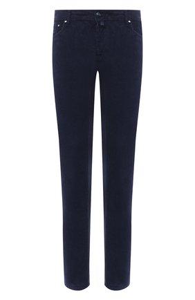 Мужской хлопковые брюки JACOB COHEN темно-синего цвета, арт. J688 C0MF 02077-V/54 | Фото 1