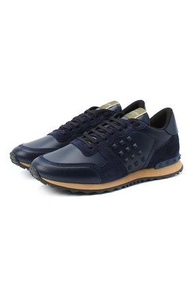 Мужские комбинированные кроссовки rockstud valentino garavani VALENTINO темно-синего цвета, арт. UY2S0748/VRJ | Фото 1