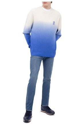 Мужские комбинированные кроссовки rockstud valentino garavani VALENTINO темно-синего цвета, арт. UY2S0748/VRJ | Фото 2