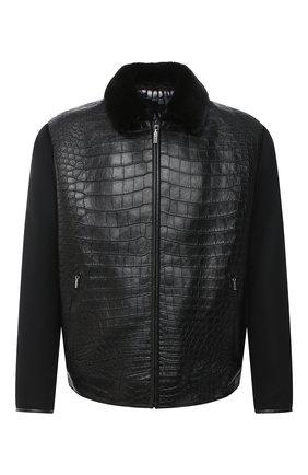 Мужская куртка с отделкой из кожи крокодила ZILLI черного цвета, арт. MAS-BRAQU-D0132/2004/CP0R | Фото 1