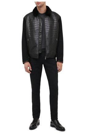 Мужская куртка с отделкой из кожи крокодила ZILLI черного цвета, арт. MAS-BRAQU-D0132/2004/CP0R | Фото 2