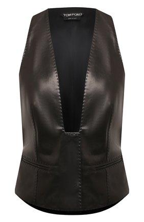 Женский кожаный жилет TOM FORD черного цвета, арт. WAL003-LEX228 | Фото 1