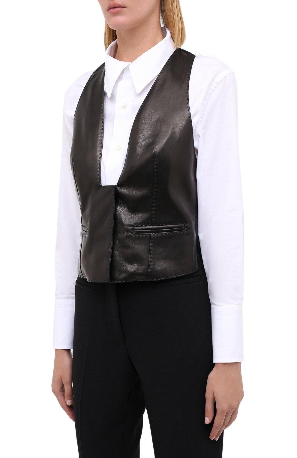 Женский кожаный жилет TOM FORD черного цвета, арт. WAL003-LEX228 | Фото 3