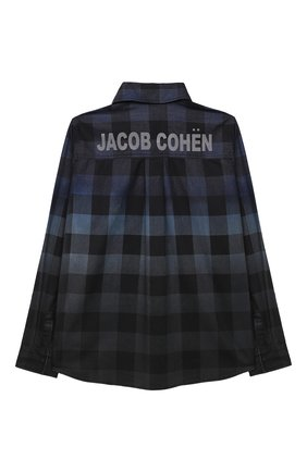 Детская хлопковая рубашка JACOB COHEN синего цвета, арт. J8013 T-01014   Фото 2