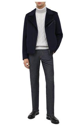 Мужская кашемировая куртка ANDREA CAMPAGNA темно-синего цвета, арт. 93700H9JD2900 | Фото 2 (Мужское Кросс-КТ: Верхняя одежда, Куртка-верхняя одежда, шерсть и кашемир; Длина (верхняя одежда): Короткие; Стили: Кэжуэл; Материал подклада: Шелк; Рукава: Длинные; Материал внешний: Шерсть; Кросс-КТ: Куртка)