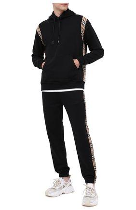 Мужской хлопковое худи BURBERRY черного цвета, арт. 8026272 | Фото 2