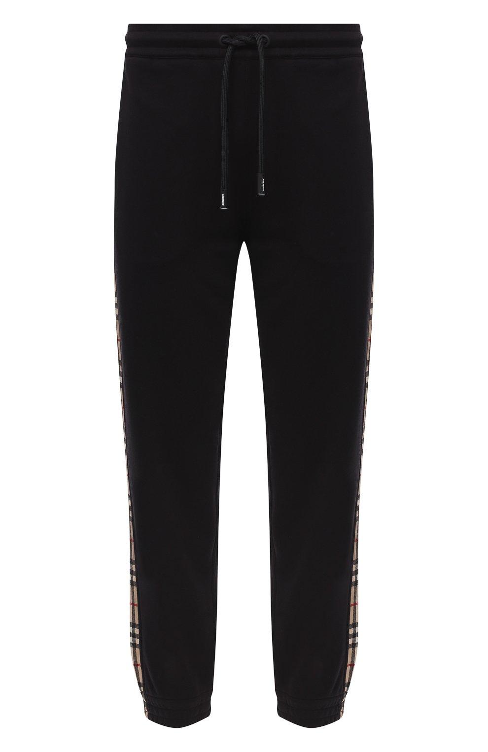 Мужские хлопковые джоггеры BURBERRY черного цвета, арт. 8026273 | Фото 1 (Мужское Кросс-КТ: Брюки-трикотаж; Длина (брюки, джинсы): Стандартные; Материал внешний: Хлопок; Стили: Спорт-шик; Силуэт М (брюки): Джоггеры)