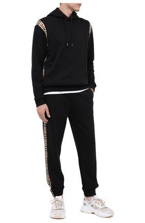 Мужской хлопковые джоггеры BURBERRY черного цвета, арт. 8026273 | Фото 2