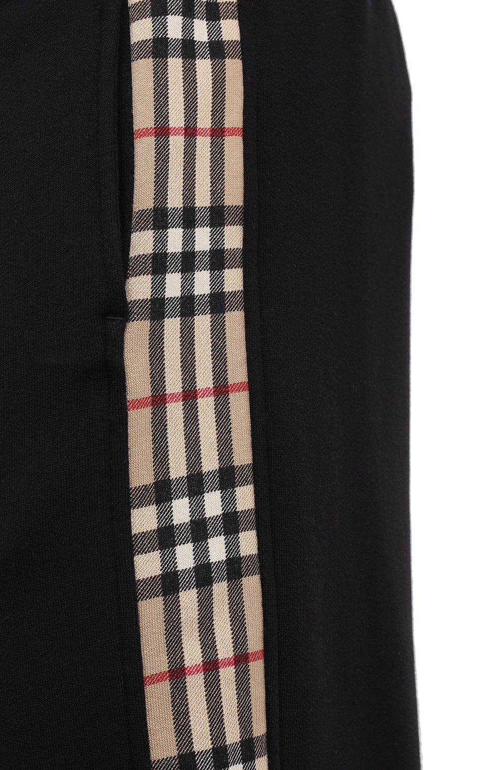 Мужские хлопковые джоггеры BURBERRY черного цвета, арт. 8026273 | Фото 5 (Мужское Кросс-КТ: Брюки-трикотаж; Длина (брюки, джинсы): Стандартные; Материал внешний: Хлопок; Стили: Спорт-шик; Силуэт М (брюки): Джоггеры)