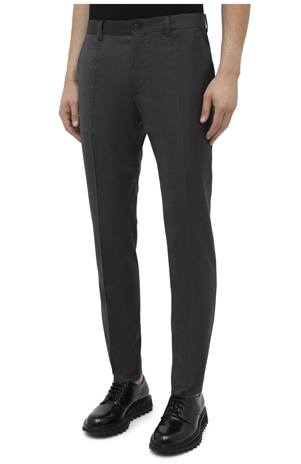 Мужские шерстяные брюки DOLCE & GABBANA серого цвета, арт. GY6IET/FUBFA   Фото 3