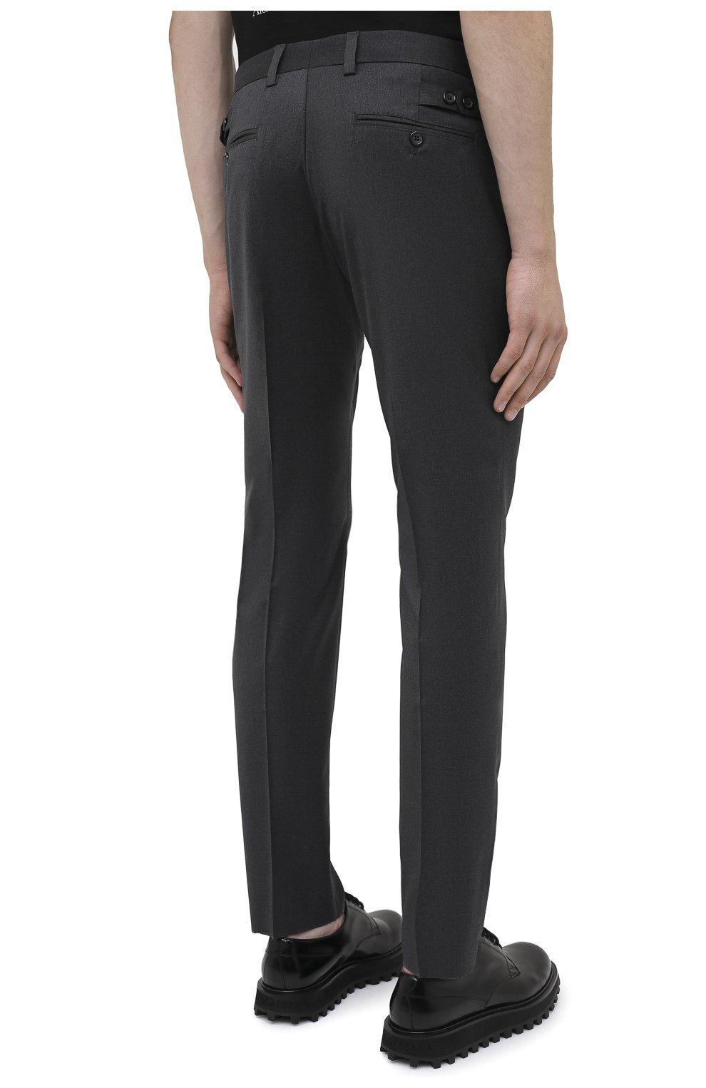 Мужские шерстяные брюки DOLCE & GABBANA серого цвета, арт. GY6IET/FUBFA   Фото 4