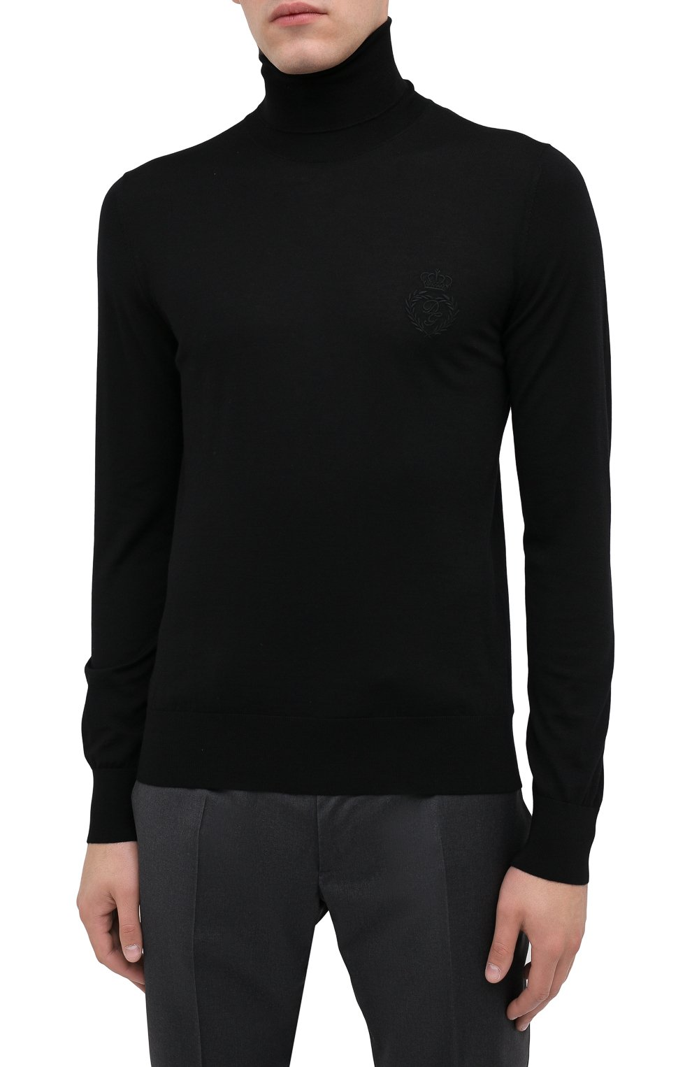Мужской шерстяная водолазка DOLCE & GABBANA черного цвета, арт. GXB00Z/JAVWH | Фото 3