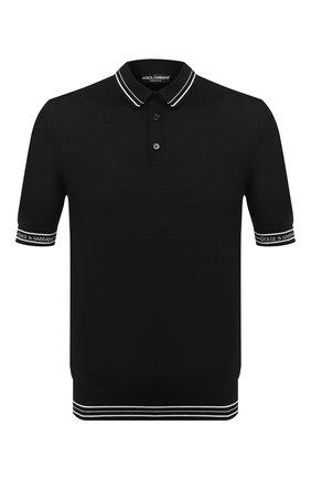 Мужское шелковое поло DOLCE & GABBANA черного цвета, арт. GXA45T/JASNJ | Фото 1