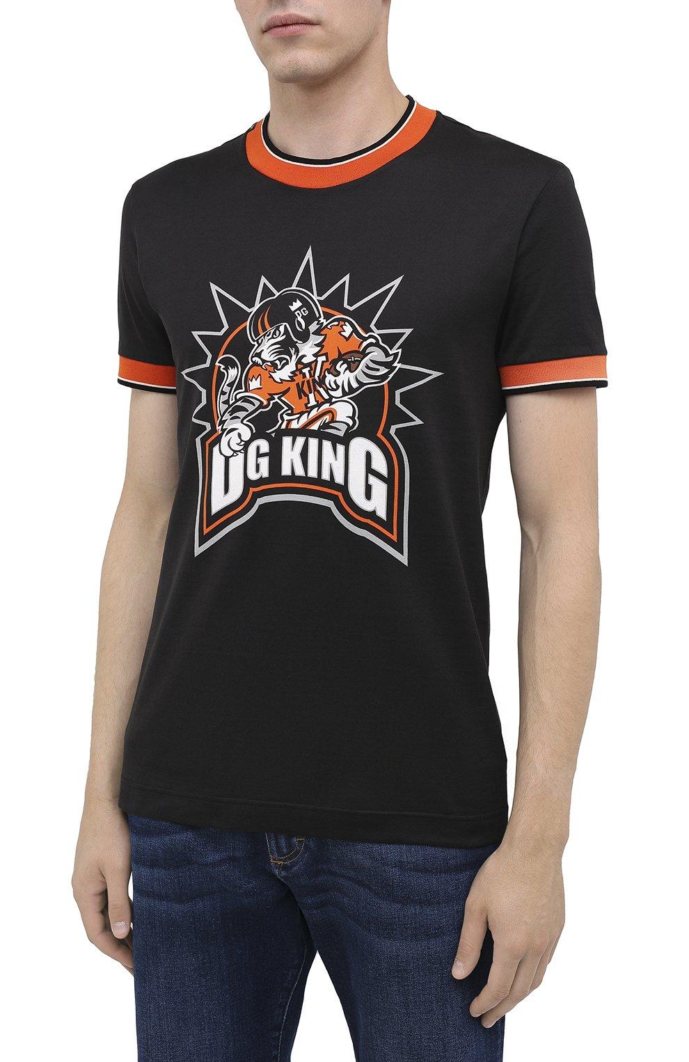 Мужская хлопковая футболка DOLCE & GABBANA черного цвета, арт. G8KC0T/FI7W4   Фото 3